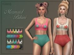 Trillyke - Mermaid Swimsuit Set for The Sims 4