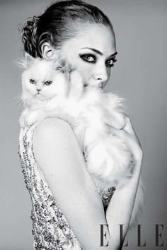 Amanda Seyfried Elle April 2011 Editorial Gets Cozy With Animals #cutepets #animalphotography