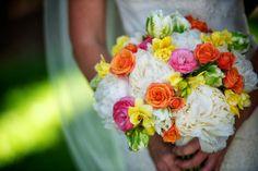 Bright colors in floral arrangement for bridal bouquet