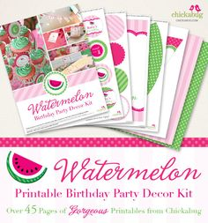 Watermelon Birthday Party Printable Decor Kit (Digital File) - Simplify your party planning! We'll email you the personalized digital file - over 45 pages of printable decor. Easy to print and assemble! First Birthday Party Themes, Happy Birthday Name, Girl First Birthday, Diy Birthday, Birthday Party Decorations, Birthday Ideas, Kit, Birthday Gifts For Bestfriends, Watermelon Birthday Parties