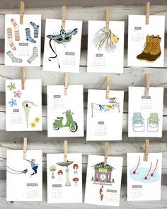 2015 calendar - illustrated wall calendar by sloeginfizz on Etsy