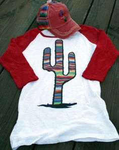 Serape Prickly Cactus Baseball Red Sleeve - Ranch and Famous