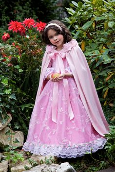 Collared Cape in Satin with Rose Embellishments - Fairytale Princess Cape Costume Accessory by Ella Dynae, $58.00