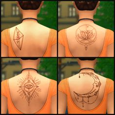 Upper Back Tattoos - Base Game Compatible!50 Followers Gift Part ¼ 5 Swatches - 4 Main swatches plus a bonus secret swatch! Base Game Compatible Recolorable, don't include mesh and @ me. Plumbob...