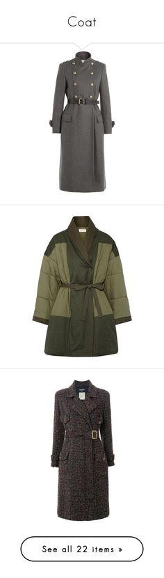 """""""Coat"""" by falconry ❤ liked on Polyvore featuring outerwear, coats, grey, double breasted woolen coat, grey double breasted coat, slim fit wool coat, double breasted coat, fur-lined coats, jackets and army green"""