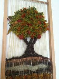 Resultado de imagen para telares decorativos de arboles Loom Weaving, Grapevine Wreath, Needle Felting, Grape Vines, Ideas Para, Lana, Diy And Crafts, Textiles, Wreaths