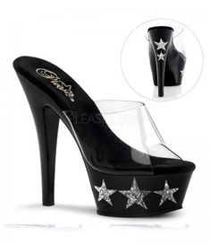 PleaserUSA PLKISS-201-3    KISS-201-3 Sexy Shoes - Sexy 6 Inch Heel Fetish Style high heel Shoes with Glitter Stars on Side of Platform by Pleaser Usa