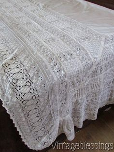 """Antique Luscious LACE Sheet Broderie Anglaise 122x 88"""" Large!  Vintageblessings"""