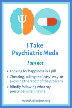 """I take psychiatric medication to treat my depression. Some people have an issue with that, but I really don't care. I'm not taking them because I think they're happy pills, because I can't be bothered doing the """"work"""" of teasing out my childhood """"issues"""" (that don't exist), or because I'm blindly following my doctor, who has sold out to Big Pharma. I take them because they help. End of story. #endthestigma #stopthestigma #pillshaming #psychmeds #medications #antidepressants #mentalillness Mental Illness Stigma, Mental Health Illnesses, Mental Health Crisis, Mental Health Advocate, Mental Health Care, Mental Health Services, Mental Health Awareness, Psychiatric Medications, Stop The Stigma"""