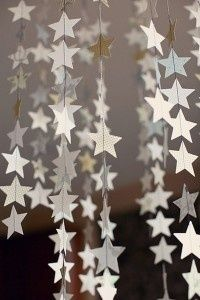 DIY Star Garland For The Fourth Of July using sewing machine or you could use wax paper stars and an iron Noel Christmas, Christmas Crafts, Christmas Quotes, Christmas Stage Design, Christmas Templates, Christmas Goodies, Christmas Birthday, Navidad Diy, Star Garland