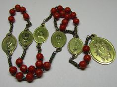 † SCARCE c1800s ANTIQUE NUN'S BRONZE FIVE WOUNDS FACETED CORAL ROSARY CHAPLET †   1/16 475UD 685AD