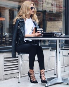 ANCHOR Belted Biker Jacket - Boohoo (Here)Anchor T-shirt - Boohoo (Here)High Rise Jean - Boohoo (Here)Sunglasses - Asos (Here)Silver Chain Bag / Similar (Here)Skylar Heels - Public Desire (Here) Fashion Look by Nada Adelle