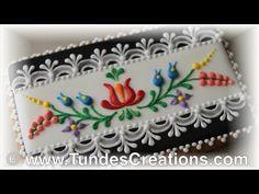 Hungarian folk art cookies, black 2 - YouTube