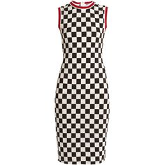 Givenchy Round-neck sleeveless checked jersey dress ($1,340) ❤ liked on Polyvore featuring dresses, givenchy, black white, sleeveless jersey, cocktail dresses, black white dress, black white cocktail dresses and holiday dresses