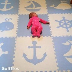 SoftTiles play mats for Nautical Themed playrooms and nurseries. This is our 9 piece Nautical Set with Sloped Borders in Light Blue and White.