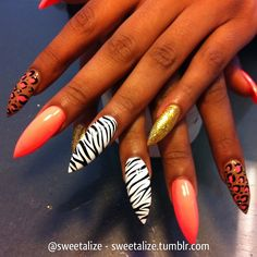 sweetalize: Mixed art on stiletto nails #zebra...