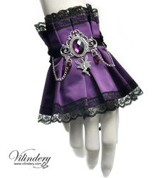 Violet Victorian cuff bracelet with purple crystals by Vilindery