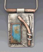 Copper and Turquoise Pendant by Hadar Jacobson