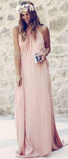 #summer #feminine #outfitideas |  Pink Maxi Dress