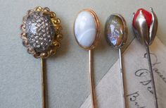 Mixed Lot of 4 Antique Stick Pins Hat Pins by CornermouseHouse, $20.00