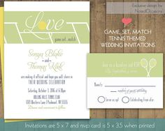 Tennis Wedding Invitations   Tennis Court And Tennis Racquet Modern Wedding Invitation Designs DIY Wedding printable by NotedOccasions, $48.00