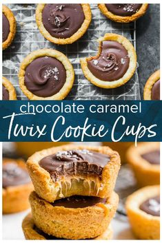 This Twix Cookie Cups recipe is inspired by (obviously) the delicious Twix candy bar. These layered cookie cups are made in a muffin pan and they create the most perfect chocolate caramel cookie. Great for holidays and parties! Bite Size Desserts, Mini Desserts, Cookie Desserts, Just Desserts, Delicious Desserts, Dessert Recipes, Brownie Cookie Cups, Twix Cookie Bar Recipe, Twix Recipe