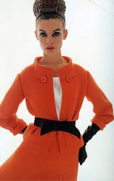 INSPIRATION & TAKE-AWAY: Dior suit, 1963, orange with black belt and gloves. The take-away is, a bold color subdued a bit with neutral accents.