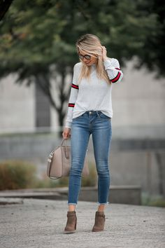 7dc105ac9 dark washed skinny jeans - ankle cropped jeans - brown booties - brown boots  for fall