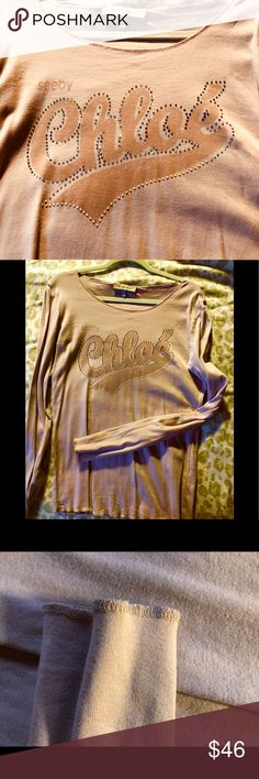 Chloe.   See by Chloe,  nice w/shorts.  Size L Perfect amount of bling.  Feels so great on, your new fav.  Such a pretty color too, to me anyways.  .  I picture this with trousers or even denim cutoffs!   Fun See By Chloe Tops Tees - Long Sleeve