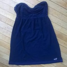 Hollister dress Worn once & ties in the back color is more navy blue. **other methods of payment accepted** Hollister Dresses Strapless