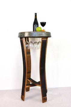 NAPA Serenoa Wine Barrel Side Tasting by winecountrycraftsman Wine Crate Table, Wine Barrel Table, Wine Barrel Furniture, Wine Barrels, Car Furniture, Furniture Making, Barrel Projects, Project Table, Tasting Table