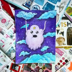easy healthy breakfast ideas on the good day song Cute Disney Drawings, Cute Drawings, Art Journal Inspiration, Art Inspo, Mini Canvas Art, Character Drawing, Simple Art, Acrylic Painting Canvas, Cartoon Art