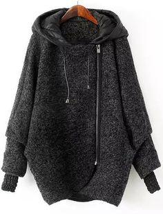 Grey Hooded Long Sleeve Zipper Loose Coat