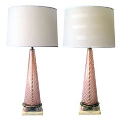 A Good Pair of Murano Pink Striped & Gold Aventurine Glass Lamps; by Dino Martens | From a unique collection of antique and modern table lamps at http://www.1stdibs.com/furniture/lighting/table-lamps/