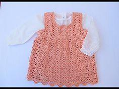 Crochet Lovely Dress For Baby - Crochet Ideas Crochet Baby Sweaters, Crochet Baby Cardigan, Crochet Baby Booties, Crochet Clothes, Hat Crochet, Crochet Girls Dress Pattern, Crochet Baby Hat Patterns, Baby Patterns, Dress Patterns