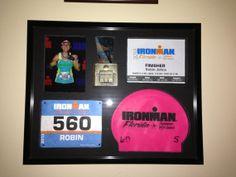 Custom, hand-made shadowbox picture frame to proudly… Ironman Triathlon, Triathlon Training, Triathlon Distances, Triathlon Motivation, Half Ironman, Triathalon, Race Bibs, Swim Team, Bike Run