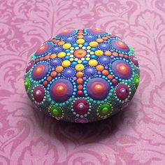 Jewel Drop Mandala Painted Stone by ElspethMcLean on Etsy