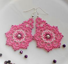 Pink earrings tatted earrings tatting by TattingLaceJewellery