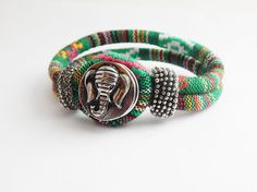 African Bracelets Green Elephant Snap Bracelet Fabric Rope Bracelet African Jewery Elephant Afrocentric Ethnic Jewelry Statement Cute Unqi by TheBlackerTheBerry