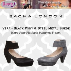SL Vera Mary Jane Pumps in pony hair and steel toned suede