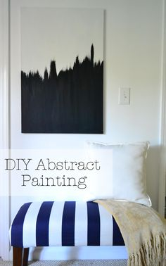 DIY Abstract Painting - could hang three canvas' from ceiling, to act as a wall... EL