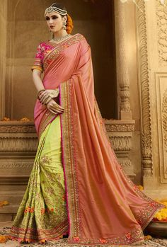 Elegant Lime Yellow and Peach #Saree