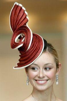 Millinery Hat - Hats for lady Fancy Hats, Cool Hats, Mode Bizarre, Caroline Reboux, Ascot Hats, Crazy Hats, Church Hats, Love Hat, Red Hats