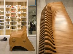 The design inspiration came from nautical skeleton frames and the planning was done on 3d parametric software such as grasshopper. The bench is made of MDF plates and was cut with a CNC machine.