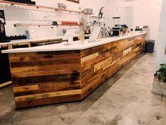 handmade wooden pallet shop counter
