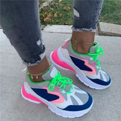 Lace-Up Low-Cut Upper Round Toe Color Block Sneakers Colorful Sneakers, Retro Sneakers, Dress With Sneakers, Dress And Heels, Casual Sneakers, Sneakers Fashion, Fashion Shoes, Sneakers Nike, Colorful Shoes