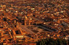 Cuzco, Peru. Aerial view of Plaza de Armas.
