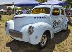 """This Willys is evidently a survivor and unusual on two accounts. First of all it's a four door race car and secondly it's MoPar WEDGE powered. Or maybe someone did a very good job of adding """"patina"""" to a fresh build? NSRA Western Street Rod..."""