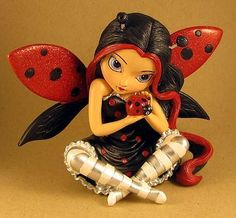 Art: Cute as a Bug STATUE with Hamilton Collection/Bradford by Artist Jasmine Ann Becket-Griffith