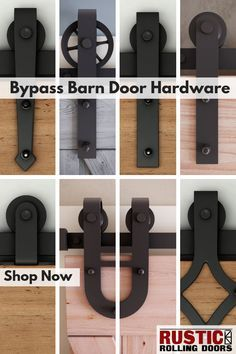 Our bypass barn door hardware kits are available in 7 different hanger styles. - Our bypass barn door hardware kits are available in 7 different hanger styles. Barn Door Closet, Diy Barn Door, Rustic Barn Doors, Farm Door, Bathroom Barn Door, Barn Door Track, Diy Sliding Barn Door, Diy Door, The Doors